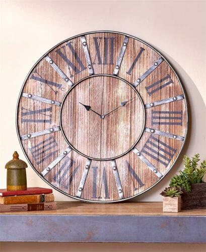 """RUSTIC VINTAGE INSPIRED FARMHOUSE WALL CLOCK BATTERY OPERATED 23-1//2/"""" DIA"""