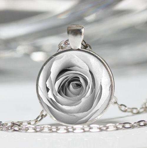 White Rose photo Tibet silver dome Glass Cabochon Necklace chain Pendant #552