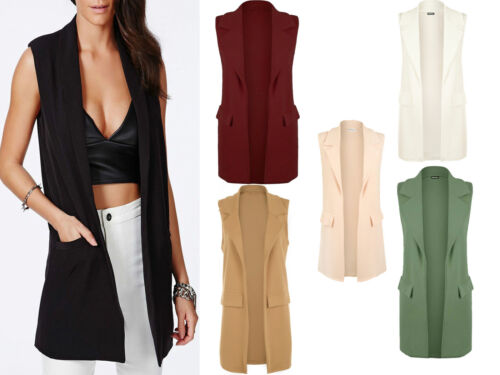 NEW WOMENS LADIES SLEEVELESS LONG DUSTER COAT WAISTCOAT SMART BLAZER PLUS SIZE