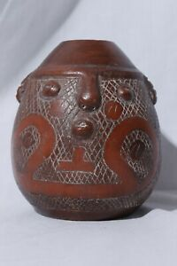 Vintage-Marajoara-Terra-Cotta-Amazon-Brazil-Red-Clay-Face-Pottery-Pot-Vase