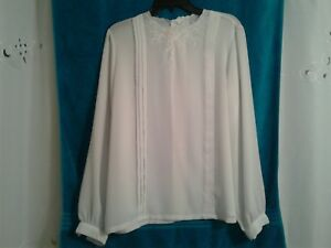 104bd366c8be76 JCPENNEY LADIES/WOMEN'S LONG SLEEVE BUTTON DOWN BACK WHITE BLOUSE | eBay