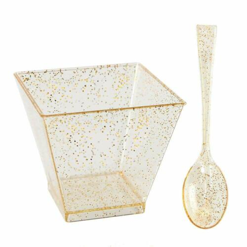 200 Pieces Plastic Dessert Cups With Mini Spoons Gold Glitter Premium Quality,