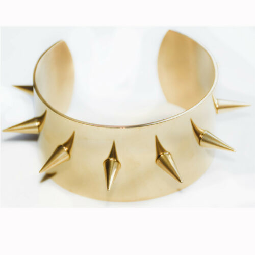 Harley Quinn Cosplay Costume Metal Gold Spiked Cuffs Bracelets Wristband Punk