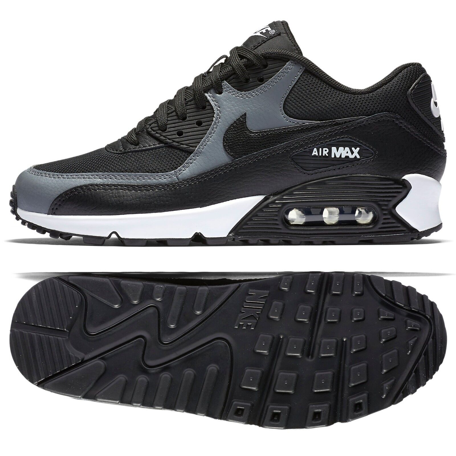 Nike WMNS Air Max 90 Black Cool Grey 325213-037 Leather Women's Running shoes