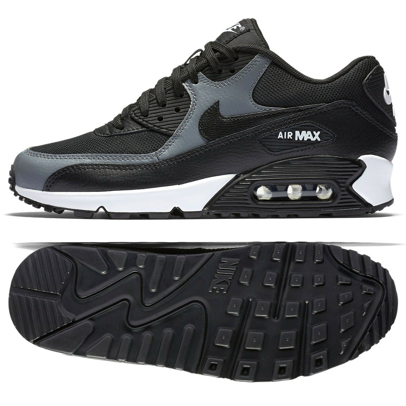 Nike WMNS Air Max 90 BlackCool Grey 325213 037 Leather Women's Running Shoes
