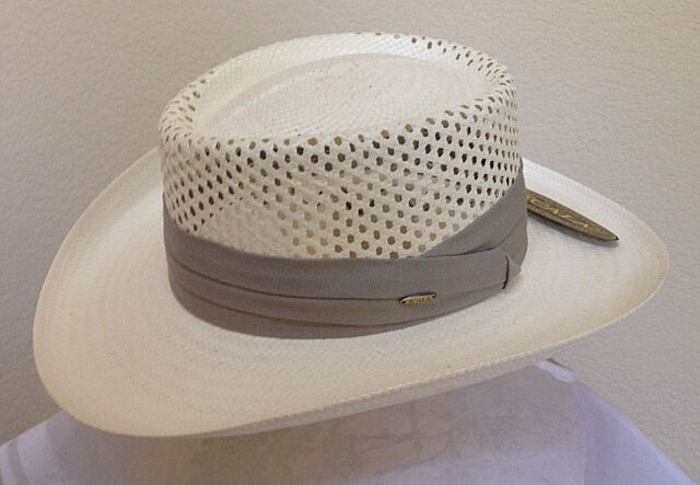 a6a595a7ea0c05 SCALA * MENS GAMBLER HAT * M L XL * NEW PANAMA STYLE VENTED TOYO STRAW SUN