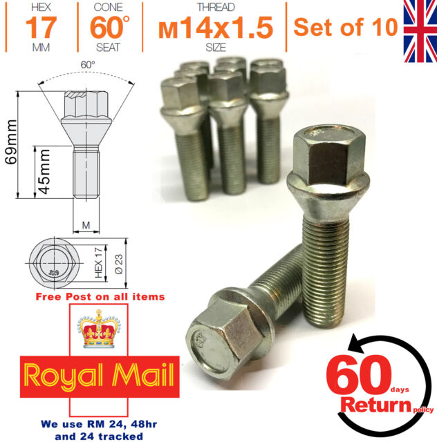 45mm extended thread M12 x 1.5 tapered seat alloy wheel bolts 17mm Hex Set o