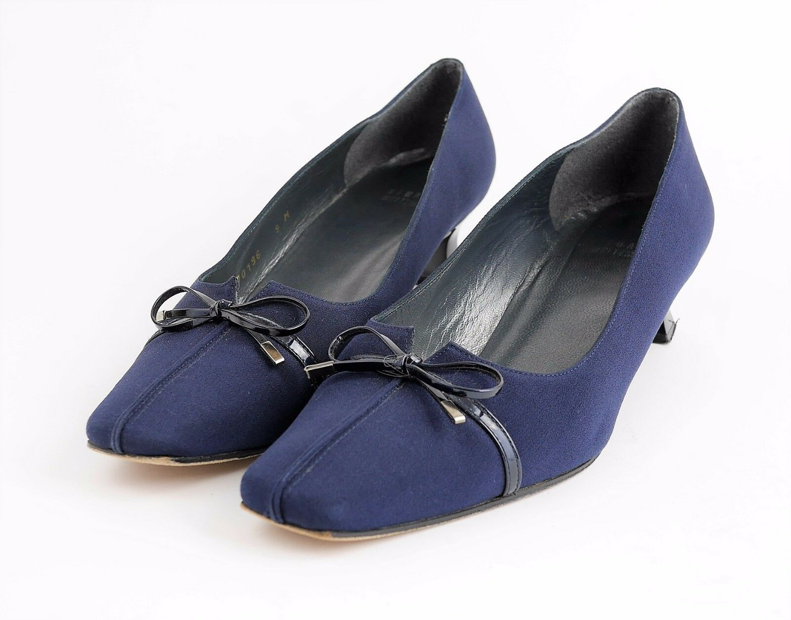 STUART WEITZMAN Navy bluee Satin Bow Accent High Heels Classic Pumps - WOMEN'S 9