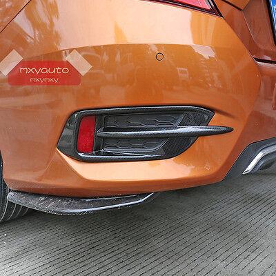 Carbon Fiber Rear Bumper Reflector Cover Trim For Honda Civic 10th Gen 2016-2017