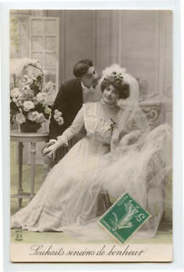 c 1910 Well Dressed WEDDING BRIDE Marriage French Fashion photo postcard