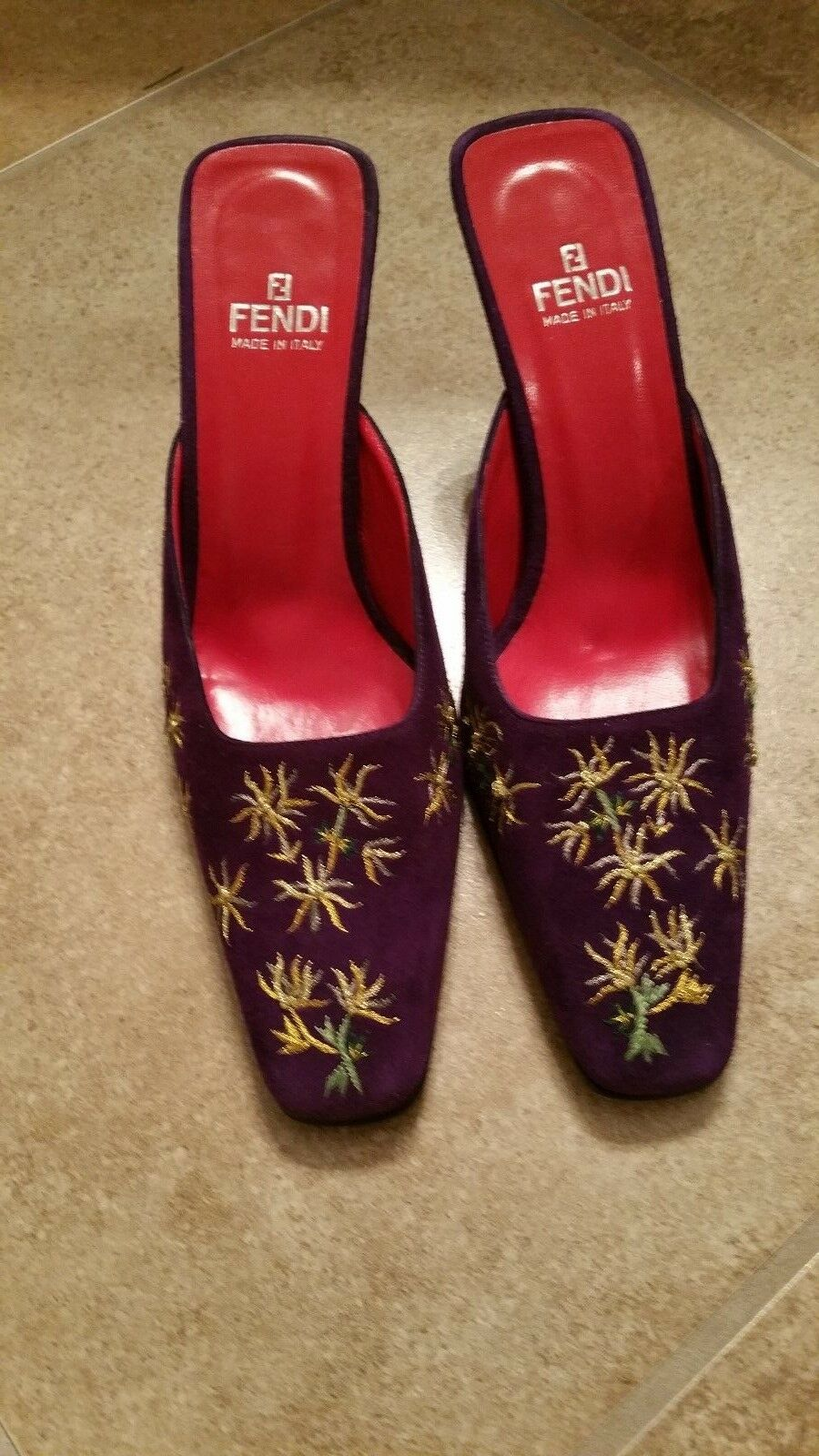 520 Authentic Fendi Plum Purple Suede with gold Detail shoes 8 M Made in