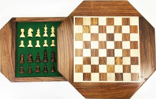 Octagon Wooden Chess Magnetic in Box Game Gift Traditional Board Casette Players