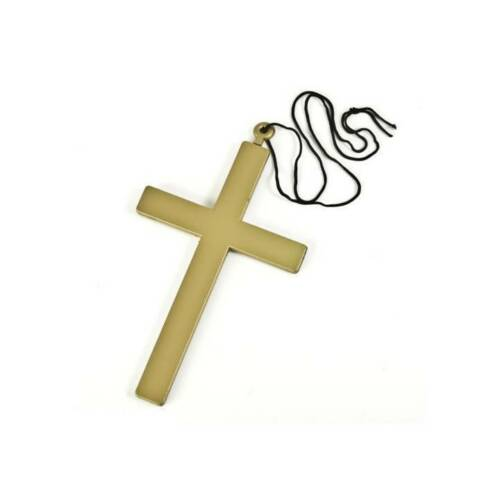 """Large 9/"""" GOLD CROSS Vampire Gothic Nun Holy Priest Necklace Adult Fancy Dress"""