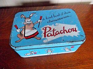 Ancienne-boite-tube-publicitaire-pub-patachou-tannerie-chaussures-lapin