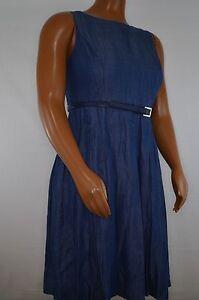 New-Tommy-Hilfiger-Women-039-s-Sleeveless-Pleated-Indigo-Denim-Dress-w-Belt-Size-18