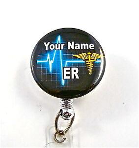Details about ER/CADUCEUS ID BADGE RETRACTABLE  REEL,RN,MEDICAL,RN,NURSE,HEART BEAT,ICU,ER,CCU,