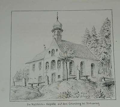 Ansichten & Landkarten Clever Kirchzarten Schwarzwald Dreisamtal Baden Giersberg Kapelle Litho Lederle 1881 Phantasie Farben
