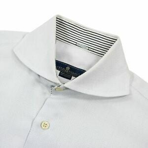 Details about Eredi Pisano White Cotton French C. Herringbone Cutaway Collar Dress Shirt 15.75