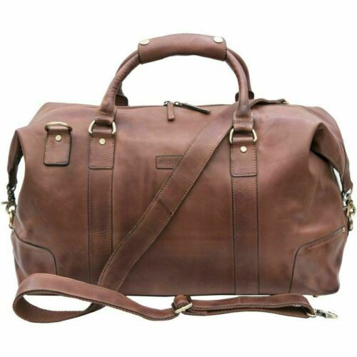 Prime Hide Ridgeback NEW Mens Designer Brown Soft Leather Holdall Travel Bag