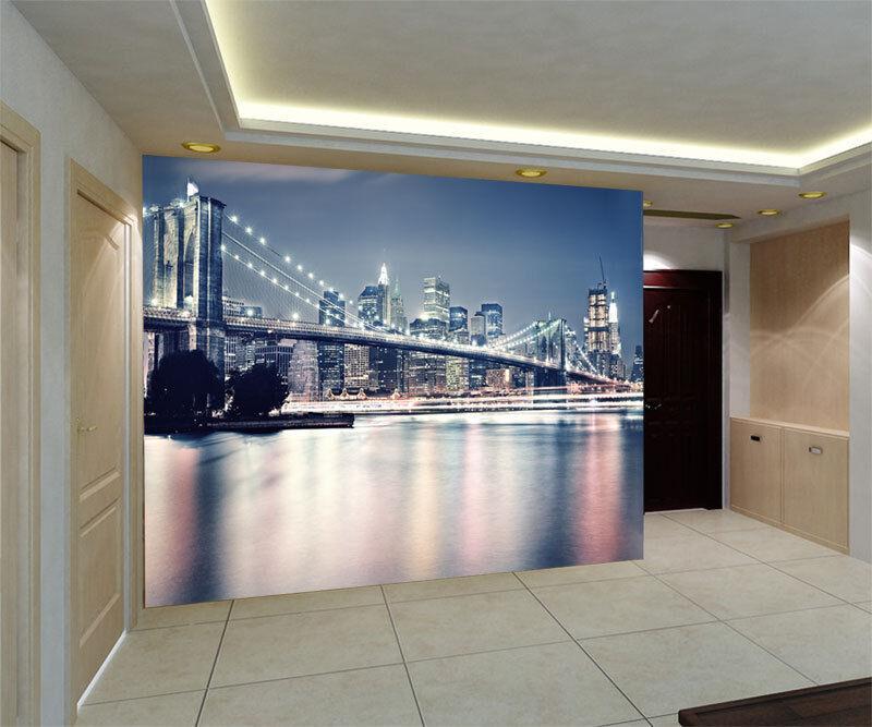 3D Brooklyn Bridge NY Night Full Wall Mural Photo Wallpaper Print Paper Home Dec