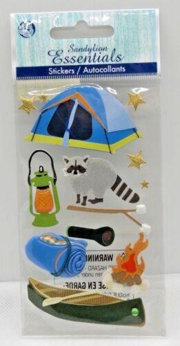 Camping Raccoon Canoe Campfire Lantern Flashlight  Sandylion 3D Stickers