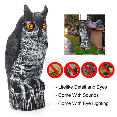 Fake Owl Decoy Pest Repellent Bird Scare Garden Decor w// Sound /& Eyes Lighting