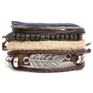 Image Is Loading Fashion Men 039 S Braided Leather Bracelet Vintage