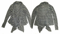 Anthropologie Stripes Ahoy Cardigan Small 2 4 Black White Charcoal Sweater Soft