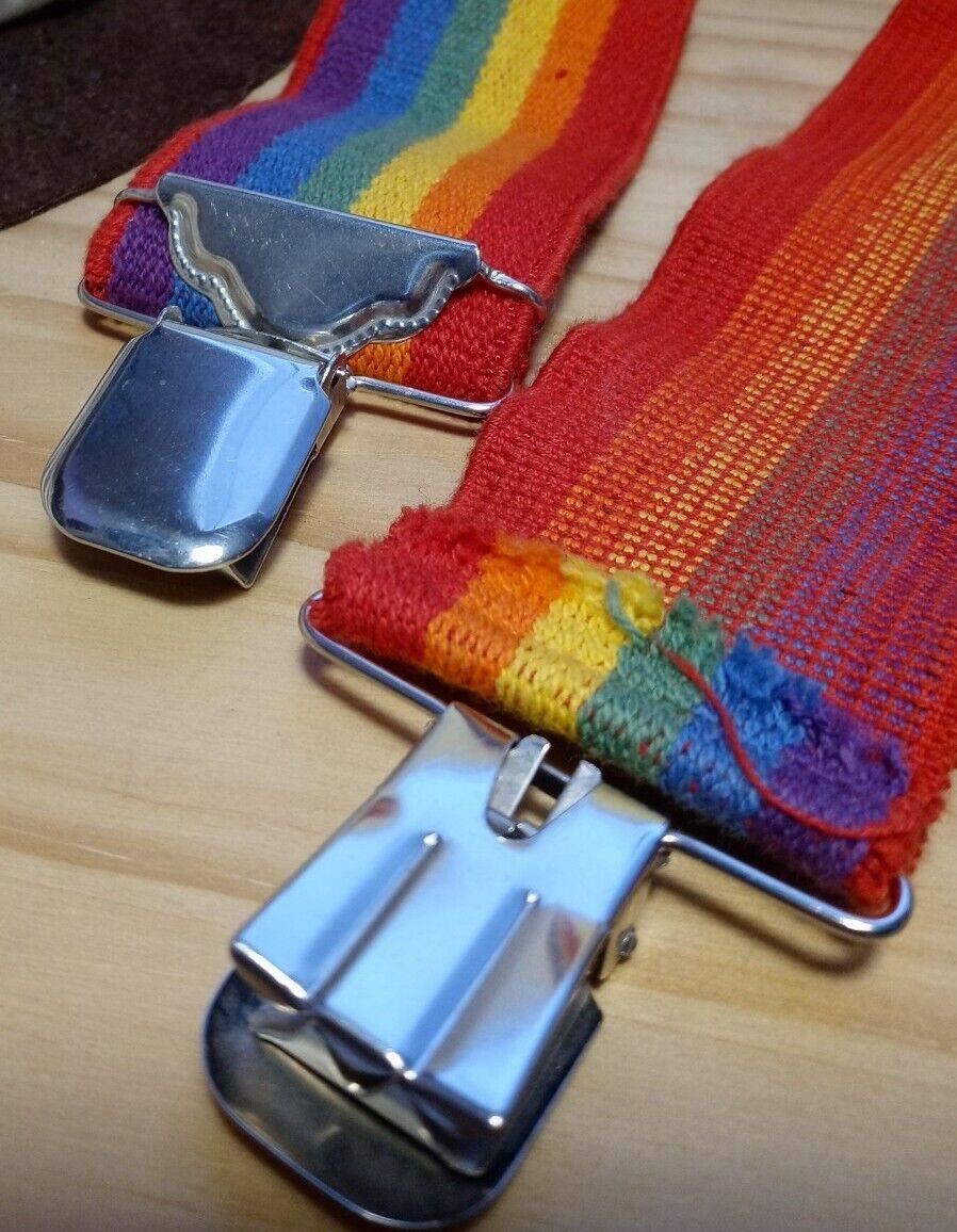"""Vintage 2"""" Rainbow Suspenders Adjustable Unbrande… - image 3"""