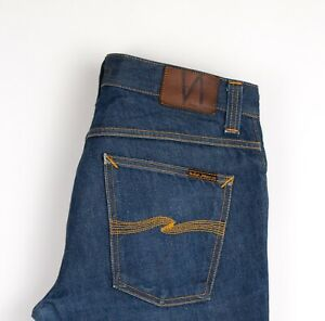Nudie Jean Hommes Sinistre Tim Slim Jeans Coupe Droite Taille W32 L32 AMZ1237