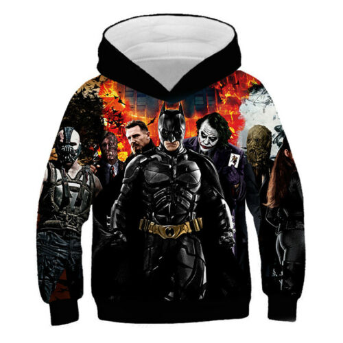 Kids Boys Batman 3D Printed Hoodie Casual Sweatshirt Hooded Jacket Pullover New