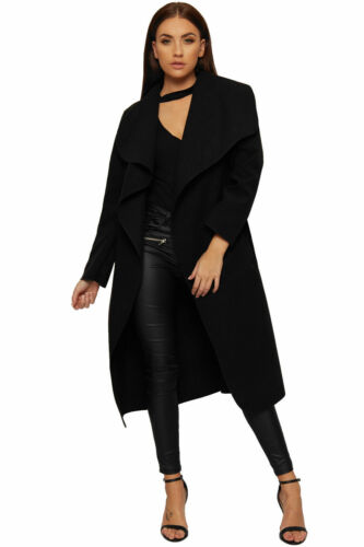 Womens Long Open Coat Ladies Celebrity Belted Waterfall Draped Trench Jacket Top