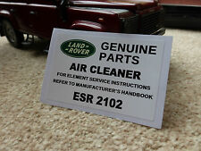 Land Rover DIscovery Range Classic Air Cleaner Decal Label Information ESR2102