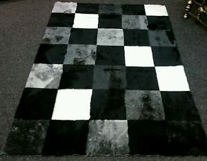 Image Is Loading Black Grey Cream Checked Square Faux Fur Soft