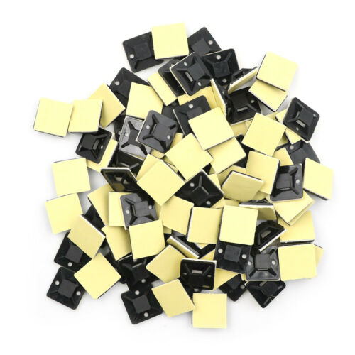 100 Pcs Self Adhesive Cable Tie Mount Base Holder 20 x 20 x 6mm#V