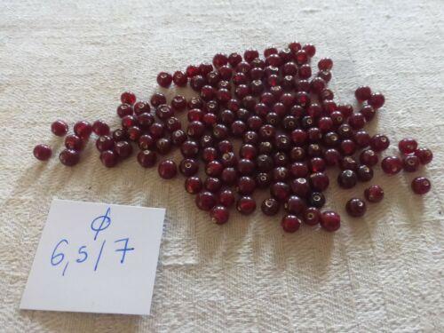 perle vintage lot de 150 perle en verre ronde lisse rouge