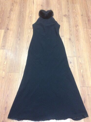 RALPH LAUREN DRESS GOWN SIZE 4 BLACK FUR NECKLINE