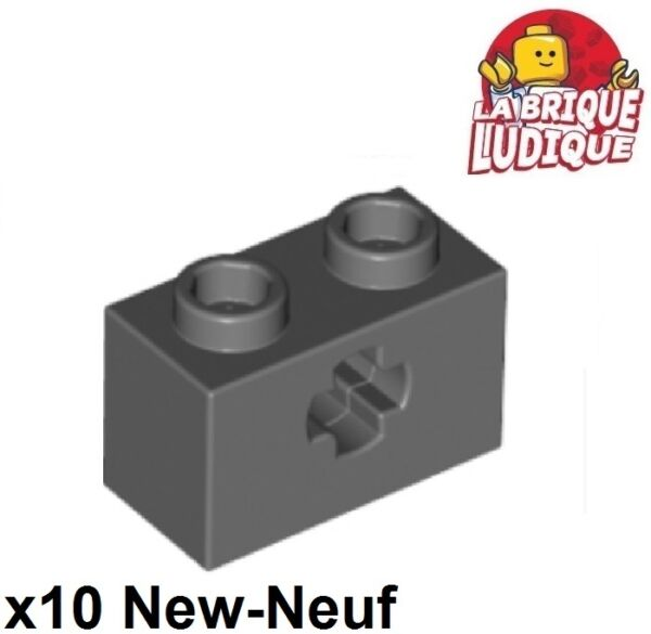 Lego Technic - 10x Brique Brick 1x2 Axle Hole Gris F/dark Bluish Gray 32064 Neuf