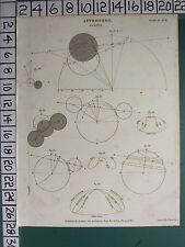 1809 DATED ANTIQUE PRINT ~ ASTRONOMY ~ ECLIPSE VARIOUS DIAGRAMS SUN RISE & SET