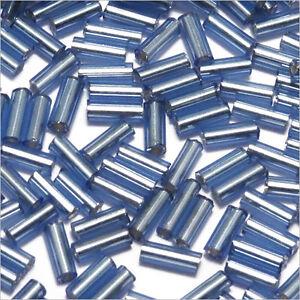 Perles-de-Rocailles-Tubes-en-verre-Trou-argente-4x2mm-Bleu-Saphir-20g