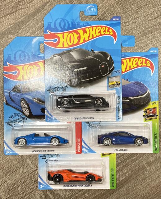 Hot Wheels Lot Of 4 Bugatti Chiron Acura NSX Lamborghini