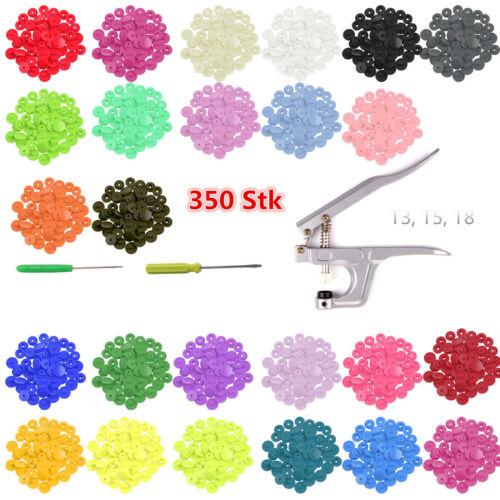 25 Farben 350 Set T5 SNAPS Druckknopf Zange Druckknöpfe SNAP Nähfrei Buttons DE