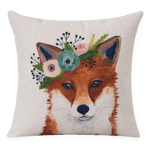 Wreath Animal Home Decor Cotton Linen Pillow Case Sofa Waist Throw Cushion Cover