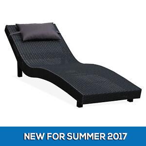 Image Is Loading NEW Black Wicker Outdoor Sunbed Garden Pool Beach