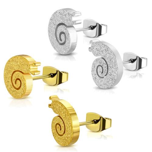 2er set acero inoxidable pendientes caracol jabones brillo plata oro señora