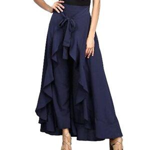 Women-High-Waist-Long-Maxi-Skirt-Pants-Ruffled-Chiffon-Pleated-Swing-Loose-Dress