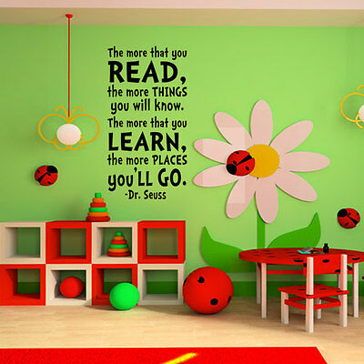 100x58cm Removable Dr. Seuss Art Words Vinyl Wall Paper Decal Art Sticker Q754