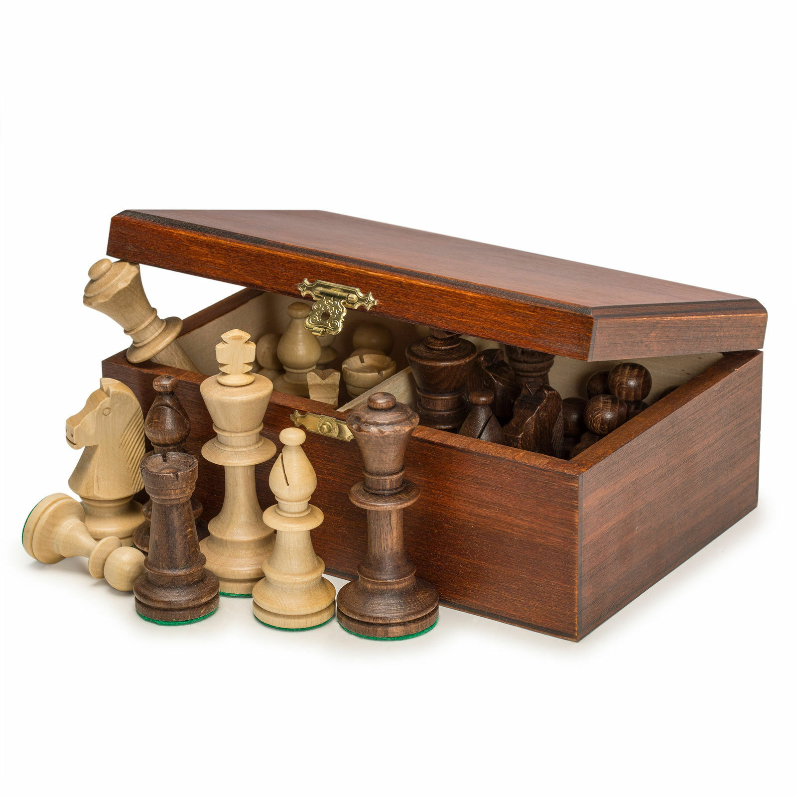 Staunton No. 5 Tournament Chess Pieces in Wooden Box - 3.5 King