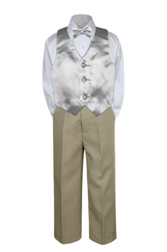 23 Color 4pc Boys Suits Vest Bow Tie Set Baby Toddler Kid Formal Khaki Pants S-7