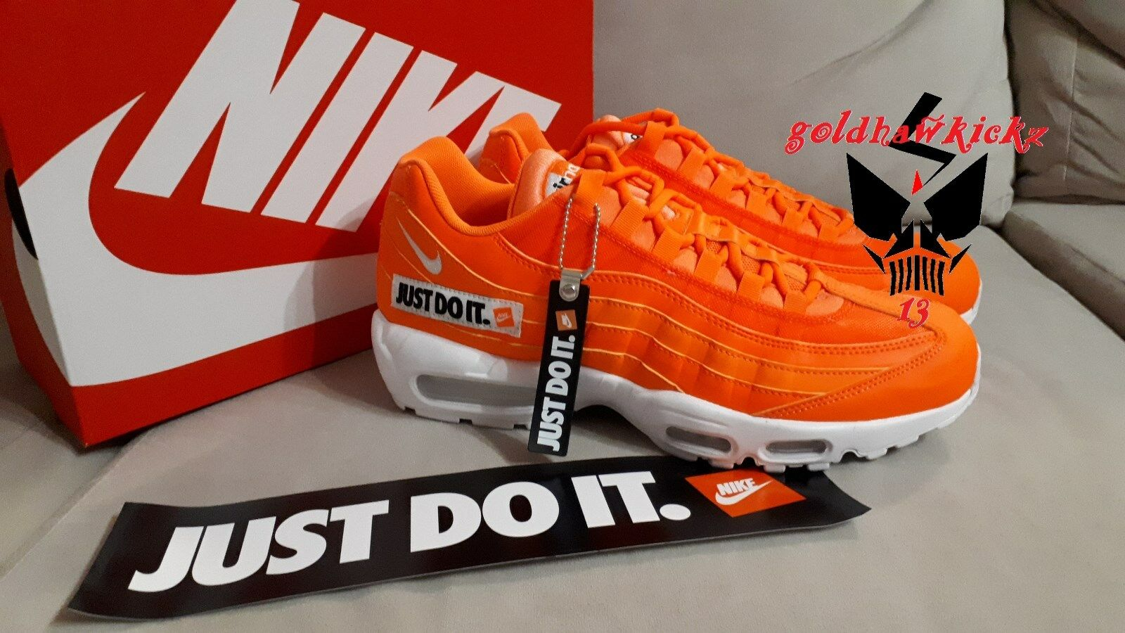 05cd2f2a01 Air Max 95 SE JUST DO IT av6246 800 total orange JDI am95 Nike  tyedbj1195-Men's Trainers